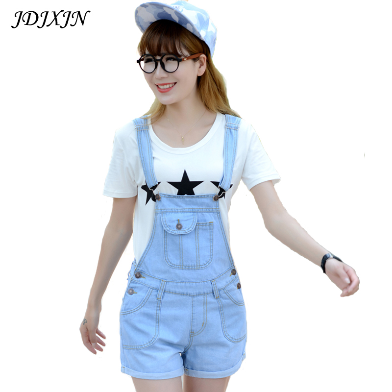 2016 Summer Style Denim Shorts Plus size Korean Womens Jumpsuit Denim Overalls Casual Skinny Girls Pants