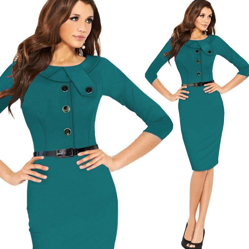 e3a830a50471d Women Work Wear 2015 Elegant Vestidos De Fiesta Fake Two-piece Bodycon  Pencil Office Dress Long Sleeve Patchwork Women Work Wear