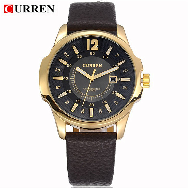 2016 CURREN Men's Fashion Casual Watches men Leather Belt Wristwatches Sport Waterproof Quartz Watch mens Clock Man reloj hombre reloj hombre curren gold watch men leather date day hours quartz casual watches mens rectangle wristwatches 30m waterproof 8097