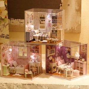 Image 5 - Домашний декор «сделай сам», деревянный дом Miniatura Craft с мебелью, аксессуары для украшения дома, фигурки, миниатюрный мини подарок для сада H