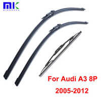 Wiper Blades For Audi A3 8P 2005 2006 2007-2012 Front And Rear Silicone Rubber Windscreen Windshield Wipers Auto Car Accessories