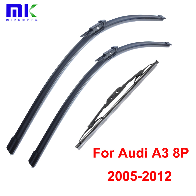 Wiper Blades For <font><b>Audi</b></font> <font><b>A3</b></font> 8P 2005 <font><b>2006</b></font> 2007-2012 Front And Rear Silicone Rubber Windscreen Windshield Wipers Auto Car <font><b>Accessories</b></font> image