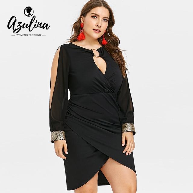 5e597241c75 AZULINA Plus Size Keyhole Neck Sequined Slit Bodycon Dress 2018 Autumn Women  Clothing Party Dresses OL Club Dress Vestidos 5XL