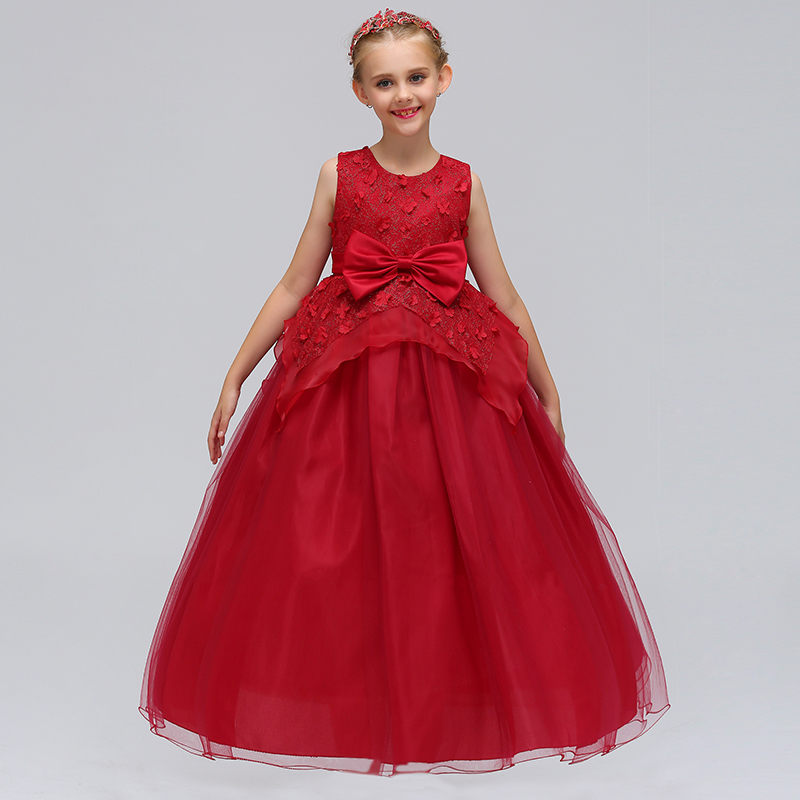 Elegant Princess Party Long Gown   Dress   Beauty   Girls   Trendy   Flower     Girl     Dress   With Bow 2019
