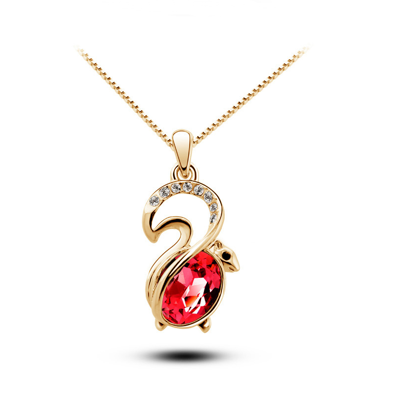 Free Shipping new arrival cute women animal rhinestones top quality Austrian Crystal squirrel Pendant Necklace fashion jewelry