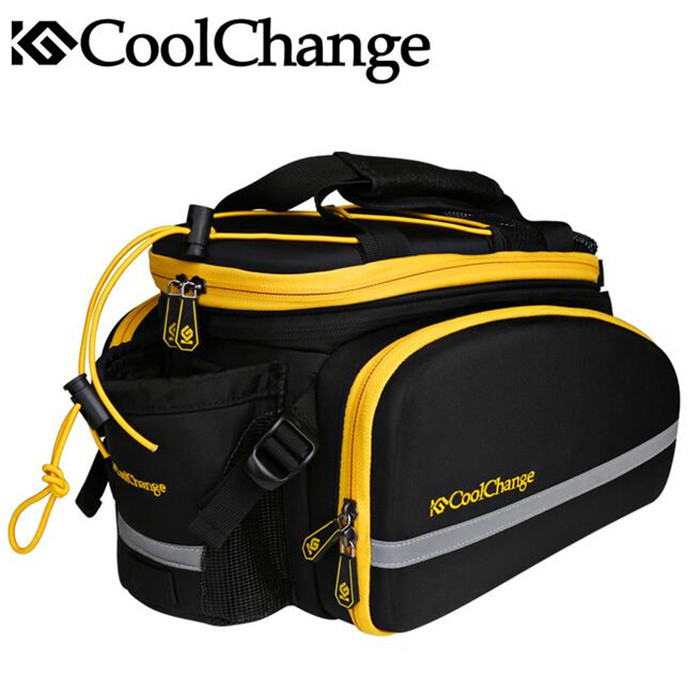 CoolChange Bicycle Bag Reflective Bike Bicycle Rear Seat Saddle Bags Cycling Carrier Bag Rack Panniers Waterproof With Rain Cove wheel up bicycle rear seat trunk bag full waterproof big capacity 27l mtb road bike rear bag tail seat panniers cycling touring