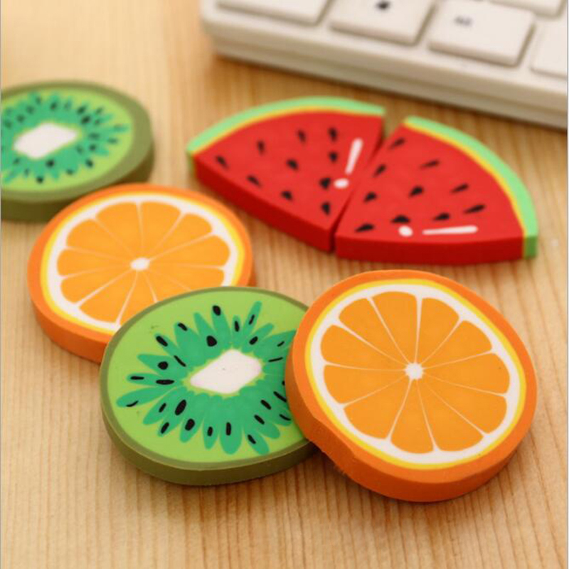 2 Unit / PackCute Fresh Fruit Design Eraser Erasers Kawai Watermelon Orange Kiwi Students Prize Gift Office Supplies