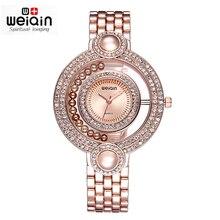 WEIQIN Marca Señoras Reloj de Oro Grano de La Manera Del Rhinestone Del Dial Redondo Análogo de Cuarzo Relojes de Vestir Mujeres Wateroroof reloje de Regalo mujer