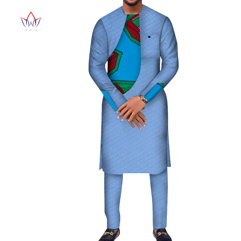 Africa Style 2020  Customized Pants Suits For Men Dashiki Plus Size Denim Men Suit Fashion Traditional African Clothing WYN949