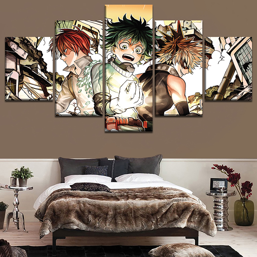 Canvas Pictures Home Decor Living Room Wall Art 5 Pieces My Hero Academia Character Painting Hd Print Animation Poster Frame Painting Calligraphy Aliexpress