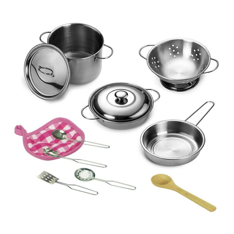 12pcs/set Kids Kitchen Pretend Play Toys Girls Mini Kitchen Stainless Steel Cooking Pots Pans Food Tools Kit Dollhouse Accessory