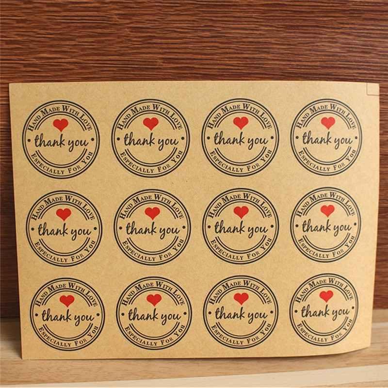 12/60/120 PCS Obrigado Vermelho Redondo Feito Sob Encomenda Saco de Papel Kraft Rótulos Adesivos Amor Auto-adesivo adesivos Etiquetas de Vestuário Para A Festa