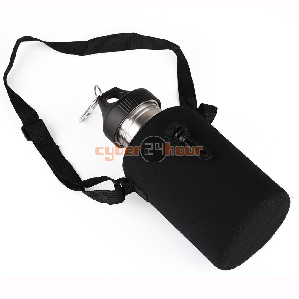 NEW 2L LARGE Stainless Steel Water Drink Bottle Cycling Sports & Carrier Bag Holder Free Shipping