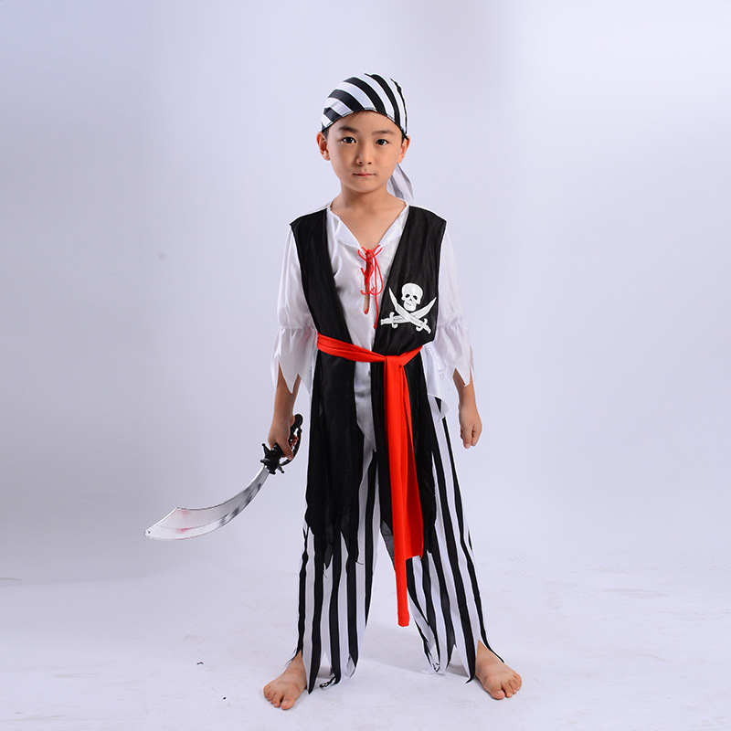 Pirate Costume Girls Boys Party Cosplay for Children Kids Halloween Christmas Captain Clothes Costume