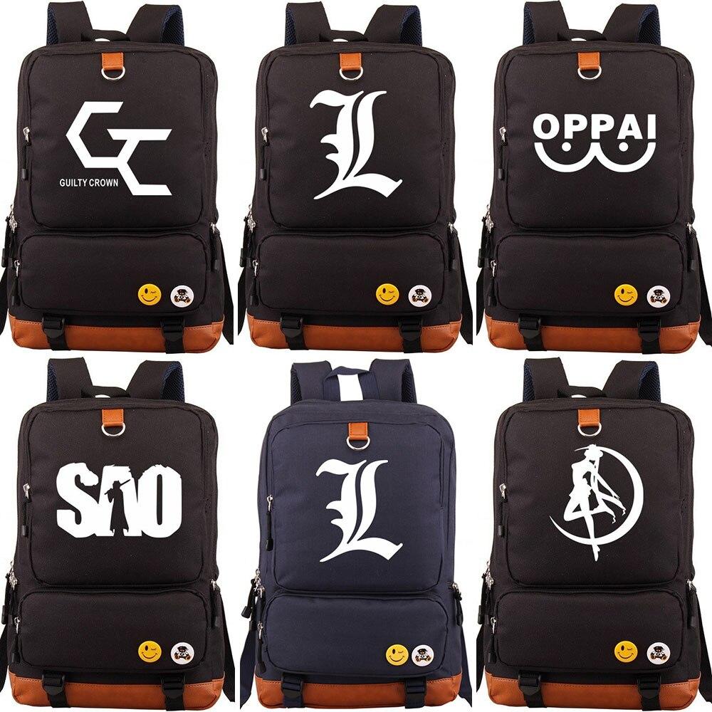 Guilty Crown Sailor Moon OPPAI SAO Boy Girl Children School bag Women Bagpack Teenagers Schoolbags Canvas Men Student Backpack