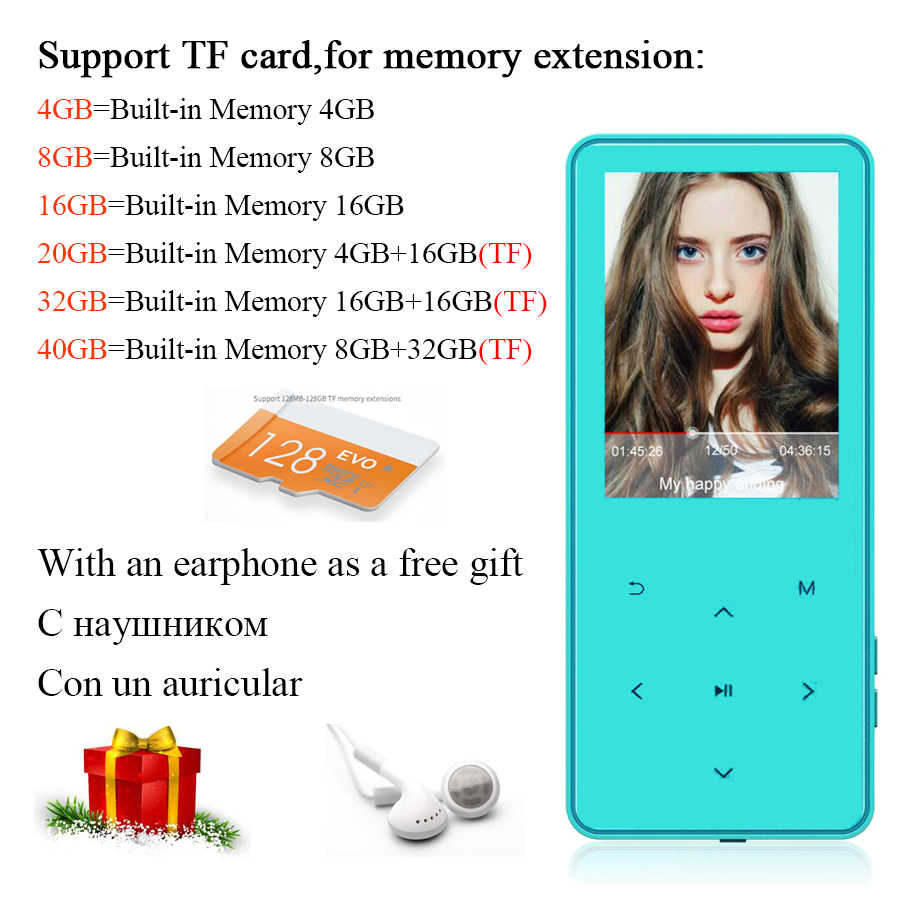 MP4 Player with Earphone Speaker walkman reproductor MP4 Speaker 2.4 inch Screen touch keys E-book FM Radio Video TF MP 4 player