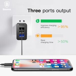 Image 5 - Baseus 3 Port USB şarj 3 in 1 üçlü ab abd İngiltere tak 2.4A seyahat duvar şarj adaptörü cep telefonu şarj için iPhone X Samsung