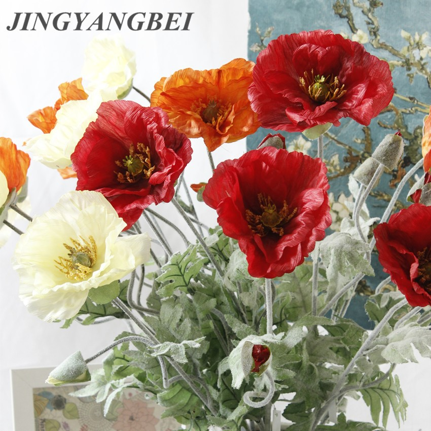 70cm Spring 2 Heads Poppy Artificial Flowers Diy Wedding Christmas Party Home Decoration Silk Flower Wall Materials Leather Bag