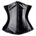 New Sexy Women Hot PVC Vinyl Gothic Underbust Front Zipper Waist Cincher Bustier Corset G-string S-2XL