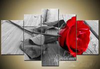 The mysterious charming red rose Realist Wall Art Print Painting Canvas 5 panels