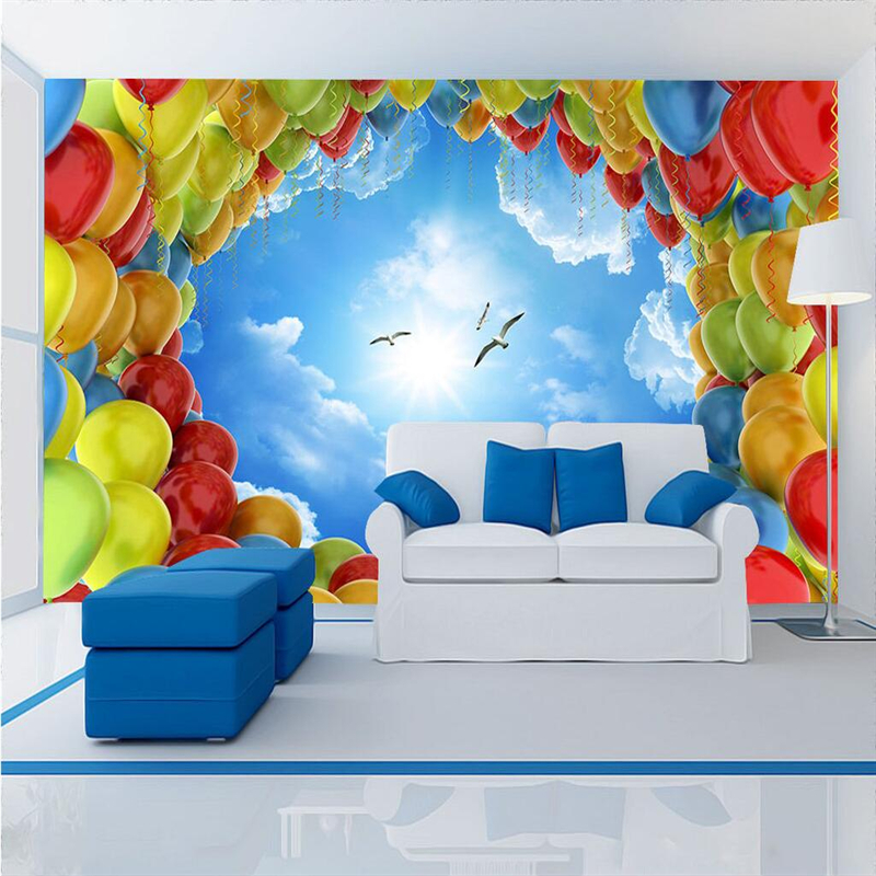 Custom Photo Wallpaper for Kids Sky Hot Air Balloon Wallpapers for Boys Environment Friendly 3d Wall Murals Thicken Wall Mural custom photo wallpaper 3d wall murals balloon shell seagull wallpapers landscape murals wall paper for living room 3d wall mural