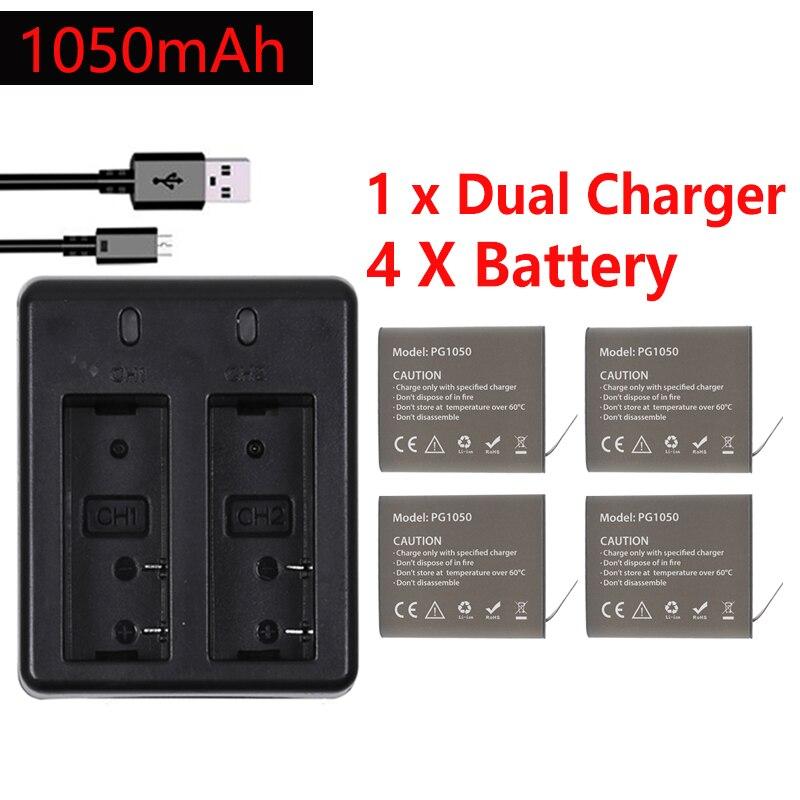 4 pces x 1050 mah pg1050 bateria da câmera + carregador duplo para eken h9 h9r h3r h8pro h8 sj4000 sj5000 m10 ação câmera batteria