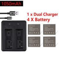 4Pcs X 1050mAH PG1050 Camera Battery + Dual Charger For EKEN H9 H9R H3R H8R H8PRO H8 SJ4000 SJ5000 M10 Action Camera Batteria