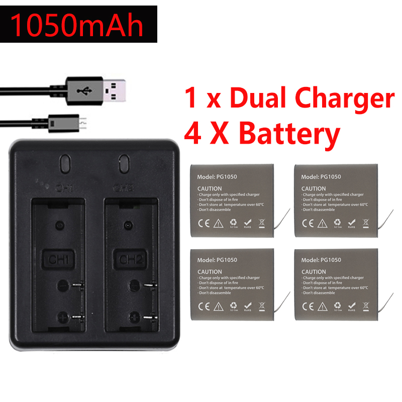 4Pcs X 1050mAH PG1050 Camera Battery + Dual Charger For EKEN H9 H9R H3R H8R H8PRO H8 SJ4000 SJ5000 M10 Action Camera Batteria image