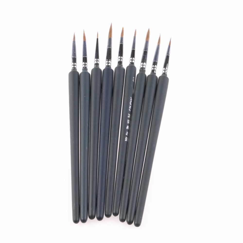 1 Set/9 Pcs Artistas Escovas Brush Pen Para Linhas Desenhadas Tinta Aquarela Guache Pintura A Óleo Suprimentos Kit de Ferramentas novo navio Da Gota