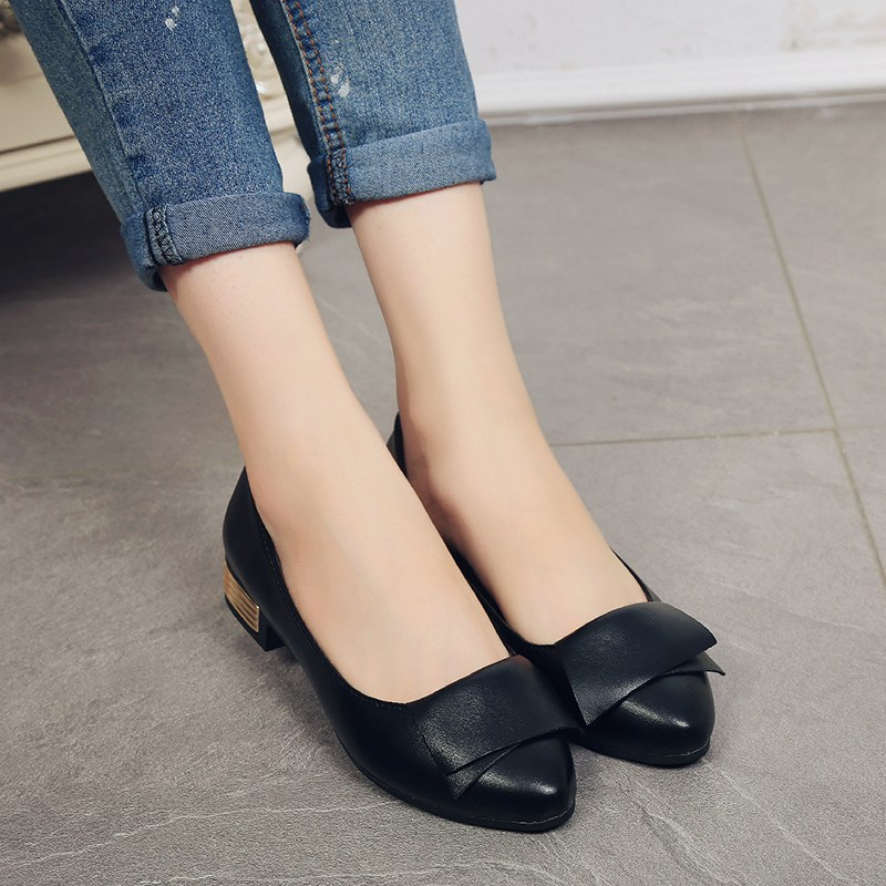 Casual Flats PU Leather Work Pointy Toe Shoes Ballet Slip On Bowknot  Women's Classic Comfy Shoes White Red Loafers