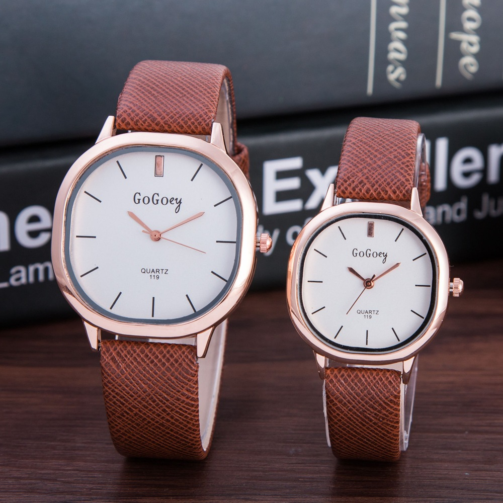 2 Pcs High Quality Gogoey Brand Leather Pair Watches Men Women Lover Couple Fashion Dress Quartz Wristwatch 119