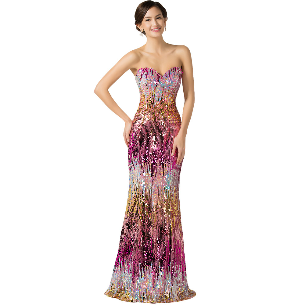 Sweetheart Colorful Sequins Lace Evening Dress 9