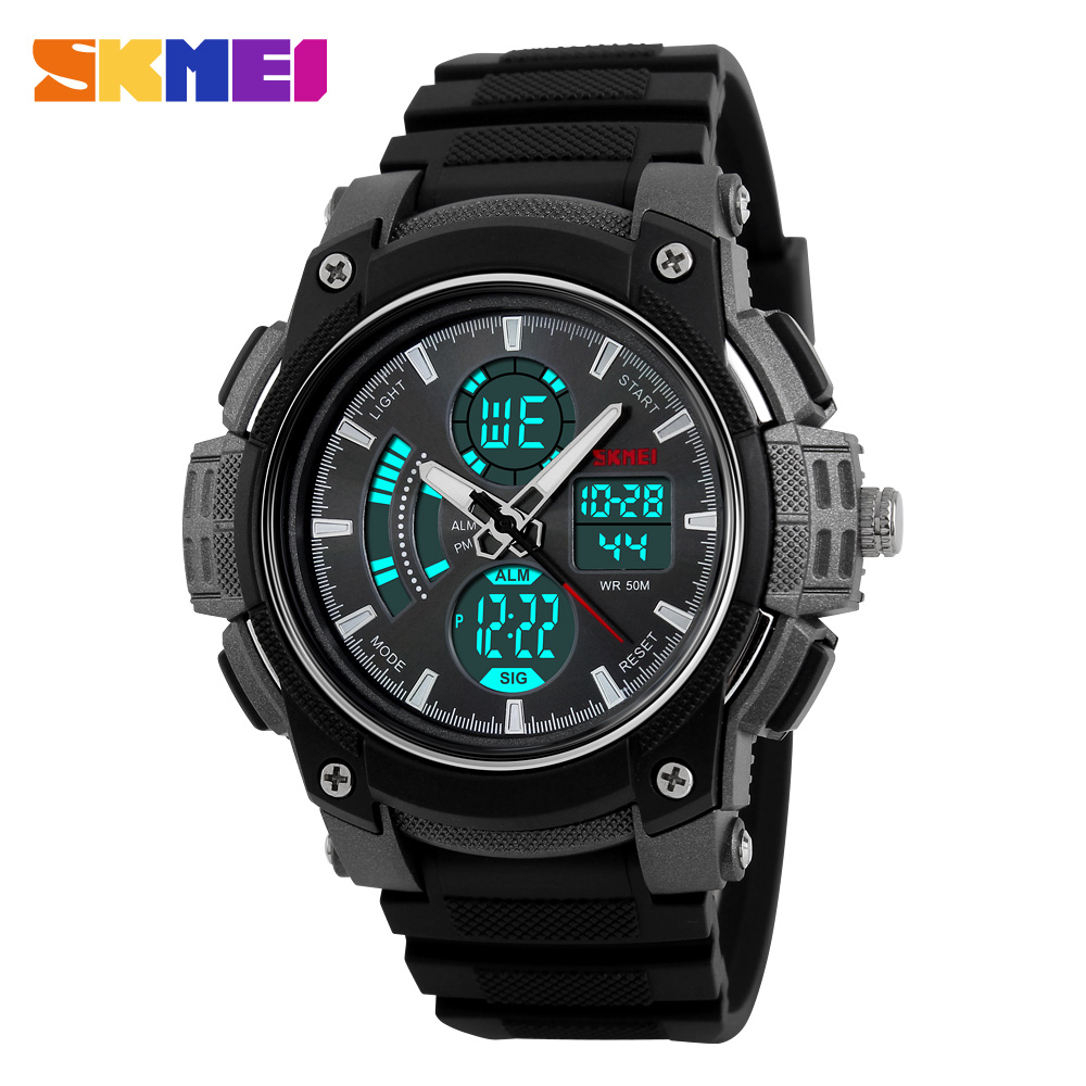 men sport watches dual display watch SKMEI brand Electronic quartz watches male analog digital LED 50M waterproof wristwatches skmei 1049 50m waterproof solar dual movement dual time zone men s sport watch black blue
