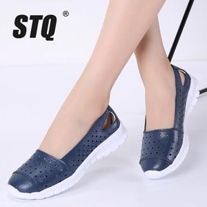 Image 1 - STQ 2020 Autumn Women Flat Shoes Genuine Leather Cutout Ballet Flats Shoes Flats Ladies Slip On Loafers Nurse Boat Shoes 7731