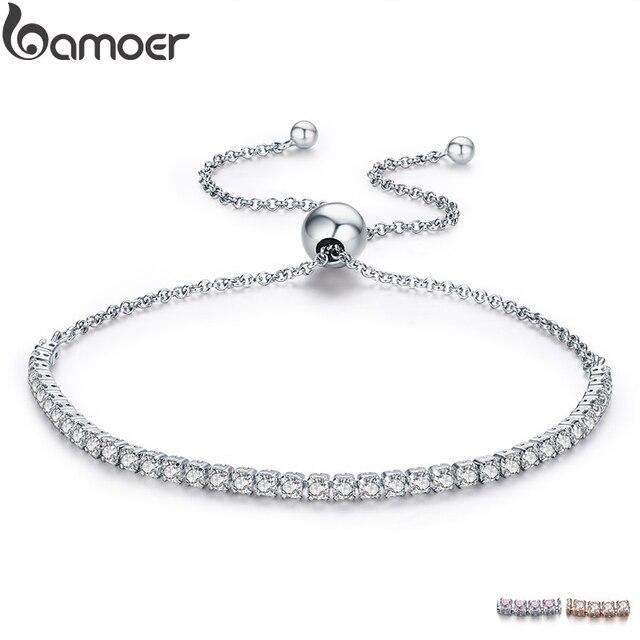 BAMOER признакам бренд предложения 925 пробы серебро сверкающая Нить Браслет Для женщин ссылка Теннисный браслет из серебра, ювелирные украшения SCB029
