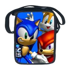 Fashion Funny Blue Super Sonic Cartoon handbag Single Shoulder Bags for Boys Girl Kids Messenger Crossbody Bags Purse Sling bags