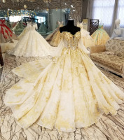 Gorgeous Ball Gown Wedding Dress With Lace Crystal Vestido De Novia Princesa Vintage Wedding Dresses Real