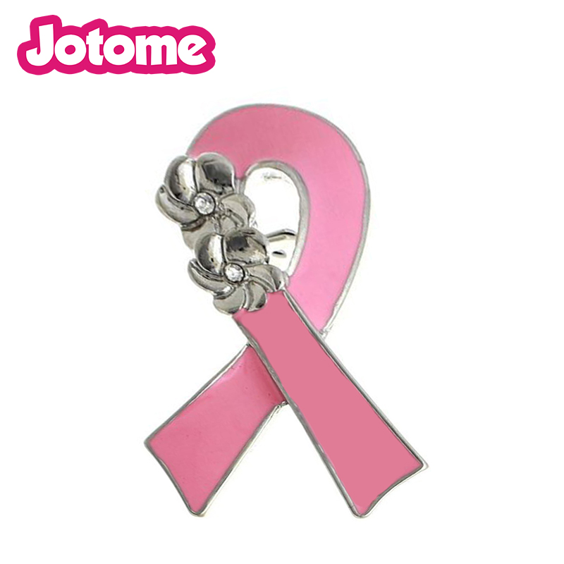 100pcs/lot wholesale enamel Pink ribbon flower Breast Cancer Awareness Brooches and pins