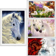Due cavallo bianco 40*30 cm punta di diamante Completa ricamo 3d diamante punto croce moda diamante mosaico di immagini di strass(China)