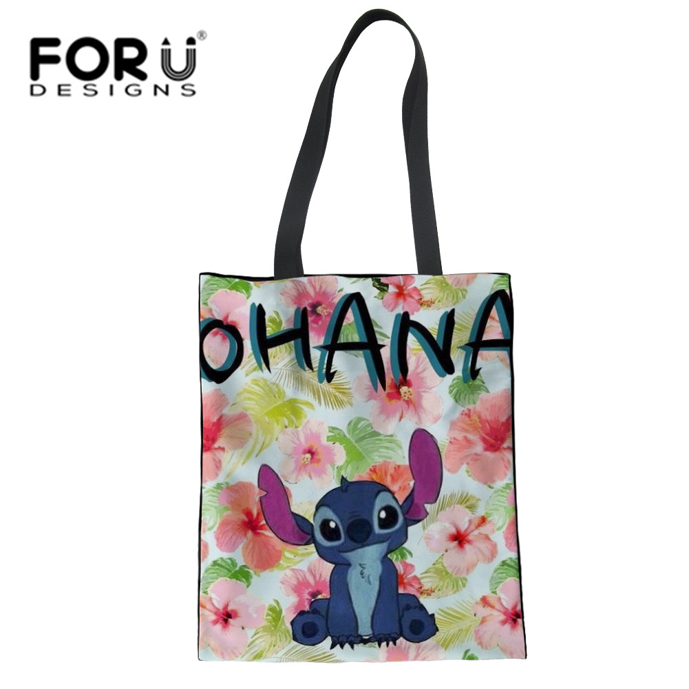 ... FORUDESIGNS Cute Lilo Stitch Prints Womens Beach Tote Floral Shoulder  Bags Fashion Girl Large Canvas Crossbody  FORUDESIGNS Women Canvas Tote Bag  ... c13cfcd4970f6