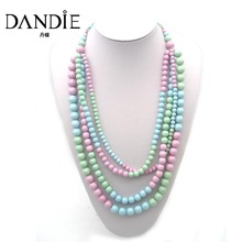 Dandie Fashion Pink Blue Green Pinkycolor Acrylic Beads Necklace, For A Womans Daily Wear