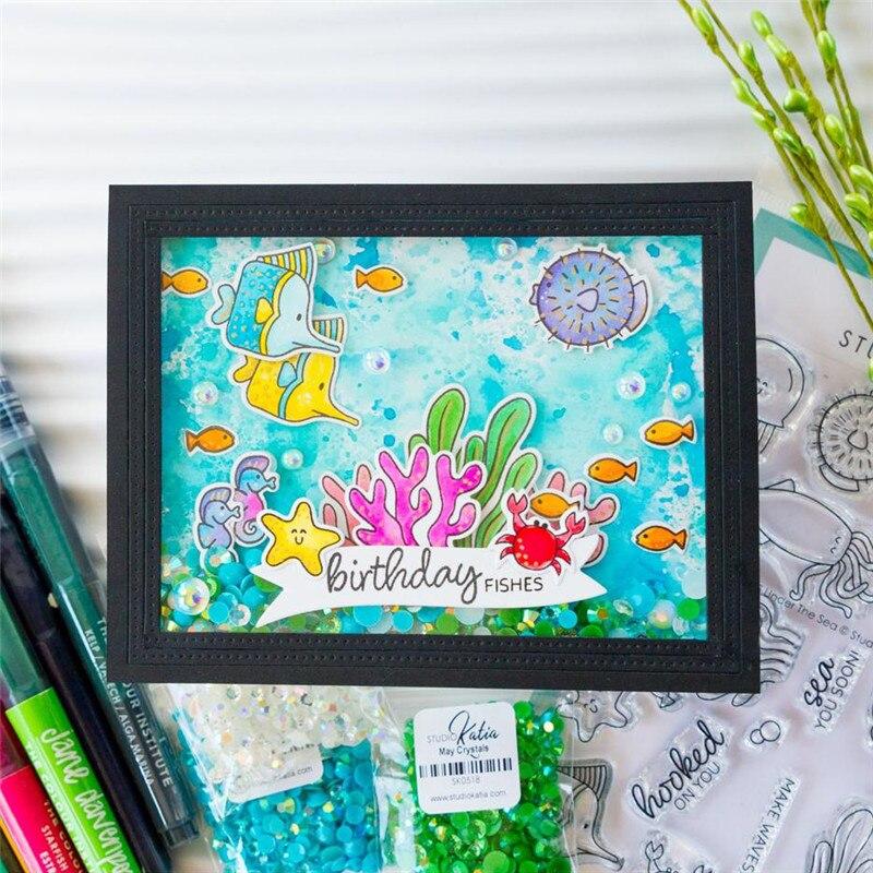 Sea World Seaweed Stone Cutting Dies Stencil Die Embossing Card Craft Making