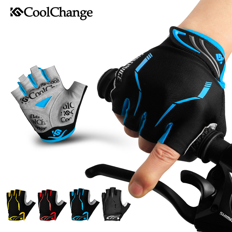 CoolChange Cycling Gloves Half Finger Mens Women's Summer Sports Shockproof Bike Gloves GEL MTB Bicycle Gloves Guantes Ciclismo coolchange cycling gloves half finger shockproof breathable gel bike gloves mtb mens women s sports anti slip bicycle gloves