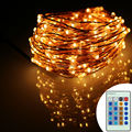 8 Colors 12m 240Leds Copper Wire Remote Control LED String Light Starry Lights Warm White Christmas Fairy Lights+AC Adapter