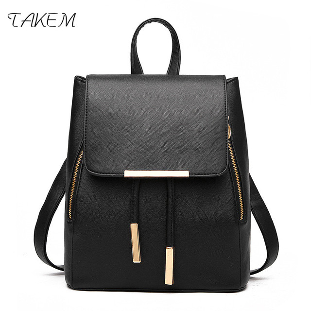 Takem 2018 New Backpack School Bags For Agers Women Top Handle Backpacks Pu Leather