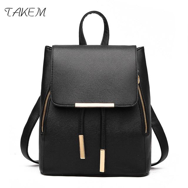 b482d525e974 TAKEM 2018 New Backpack School Bags For Teenagers Women Backpack Top-handle Backpacks  PU Leather Mochila Escolar Travel Bags