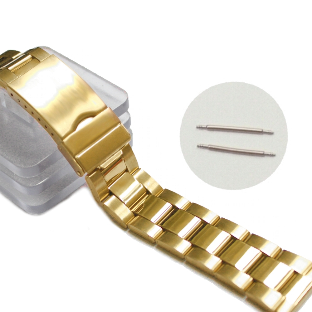 85d0b9948 20mm Brilhante Tom de Ouro Cor de Aço Inoxidável Faixa de Relógio Unissex  Cintas WB1066C20SB