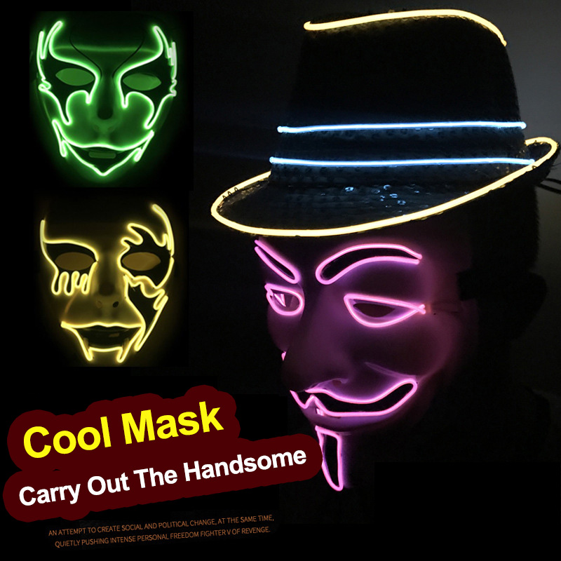 0272bc2b52ab Halloween Christmas LED Light Up Glow Party Masks The Purge Election Year  Great Funny Masks Festival