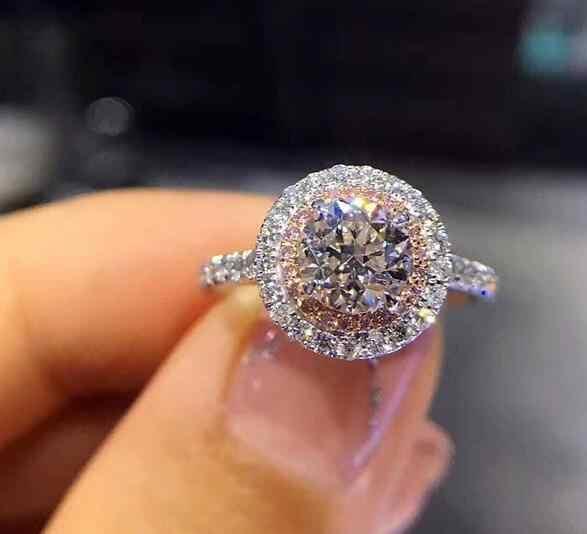 Blue Rhinestone คริสตัลแหวน 6/7/8/9/10 ขนาด Rose Gold/Sliver/Gold สีแหวนแฟชั่นผู้หญิงแหวนนิ้วมือเครื่องประดับแหวน