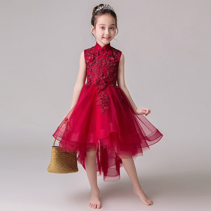 2018 winter girls dresses princess girl clothes lace dcoration show back bowknot design girls mesh tutu dress hearted shape back summer new princess girl s lace christening white big bowknot mesh sleeveless show performance formal dress